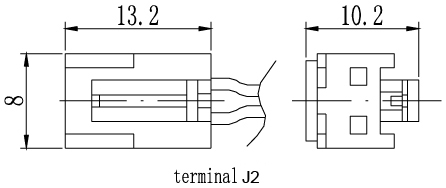 TLV1208 - 12V 0.8Ah Sealed Lead Acid Battery with J2 Terminals - Terminal Diagram