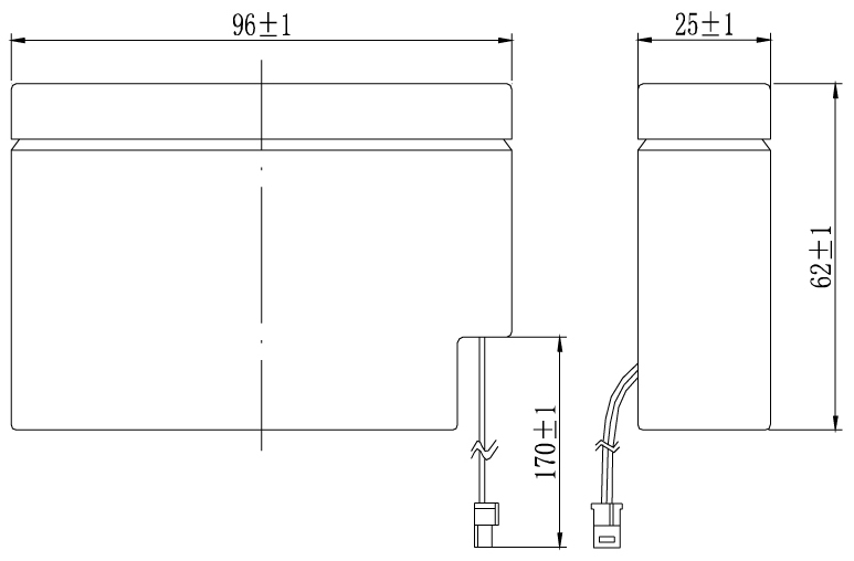TLV1208 - 12V 0.8Ah Sealed Lead Acid Battery with WL Terminals - Side Diagram