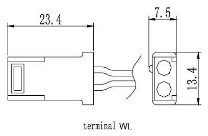 TLV1208 - 12V 0.8Ah Sealed Lead Acid Battery with WL Terminals - Terminal Diagram