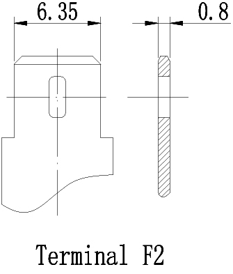 TLV12120-F2 - 12V 12Ah Sealed Lead Acid Battery with F2 Terminals - Terminal Diagram