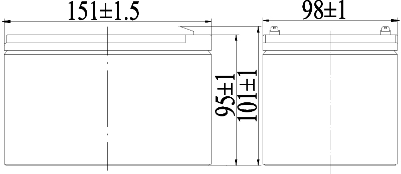 TLV12120F2 - 12V 12Ah Sealed Lead Acid Battery with F2 Terminals - Side Diagram