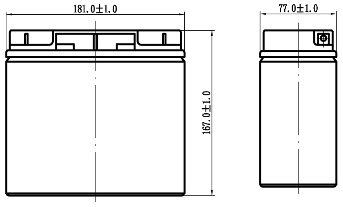 TLV12150F3 - 12V 15Ah Sealed Lead Acid Battery with F3 Terminals - Side Diagram