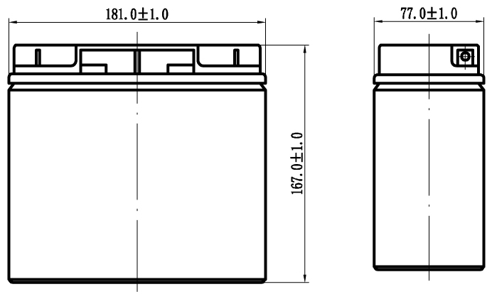 TLV12150F4 - 12V 15Ah Sealed Lead Acid Battery with F4 Terminals - Side Diagram