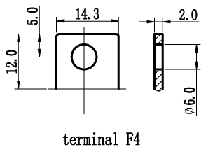 TLV12150F4 - 12V 15Ah Sealed Lead Acid Battery with F4 Terminals - Terminal Diagram