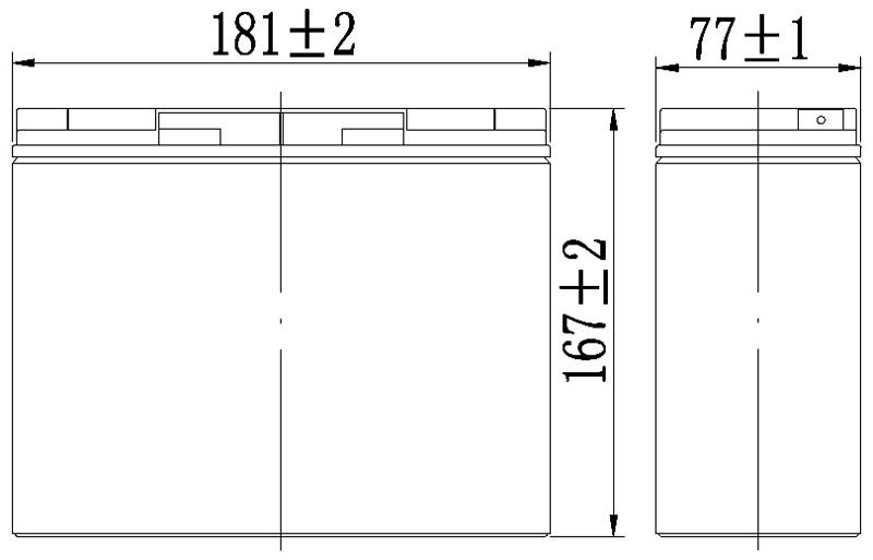 TLV12170 - 12V 17Ah Sealed Lead Acid Battery with F3 Terminals - Side Diagram
