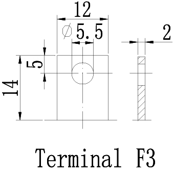TLV12170 - 12V 17Ah Sealed Lead Acid Battery with F3 Terminals - Terminal Diagram