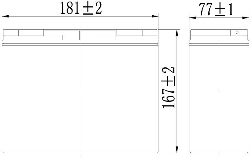 TLV12180 - 12V 18Ah Sealed Lead Acid Battery with F3 Terminals - Side Diagram