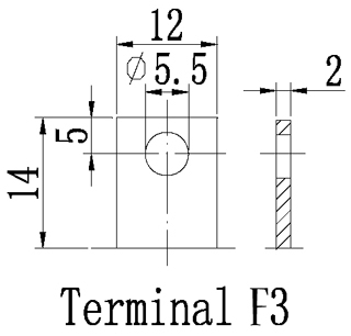 TLV12200 - 12V 20Ah Sealed Lead Acid Battery with F3 Terminals - Terminal Diagram