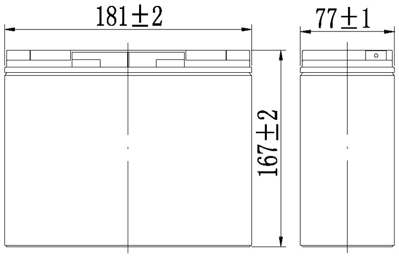 TLV12220D - 12V 22Ah Deep Cycle Sealed Lead Acid Battery with F3 Terminals - Side Diagram