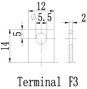 TLV12220D - 12V 22Ah Deep Cycle Sealed Lead Acid Battery with F3 Terminals - Terminal Diagram