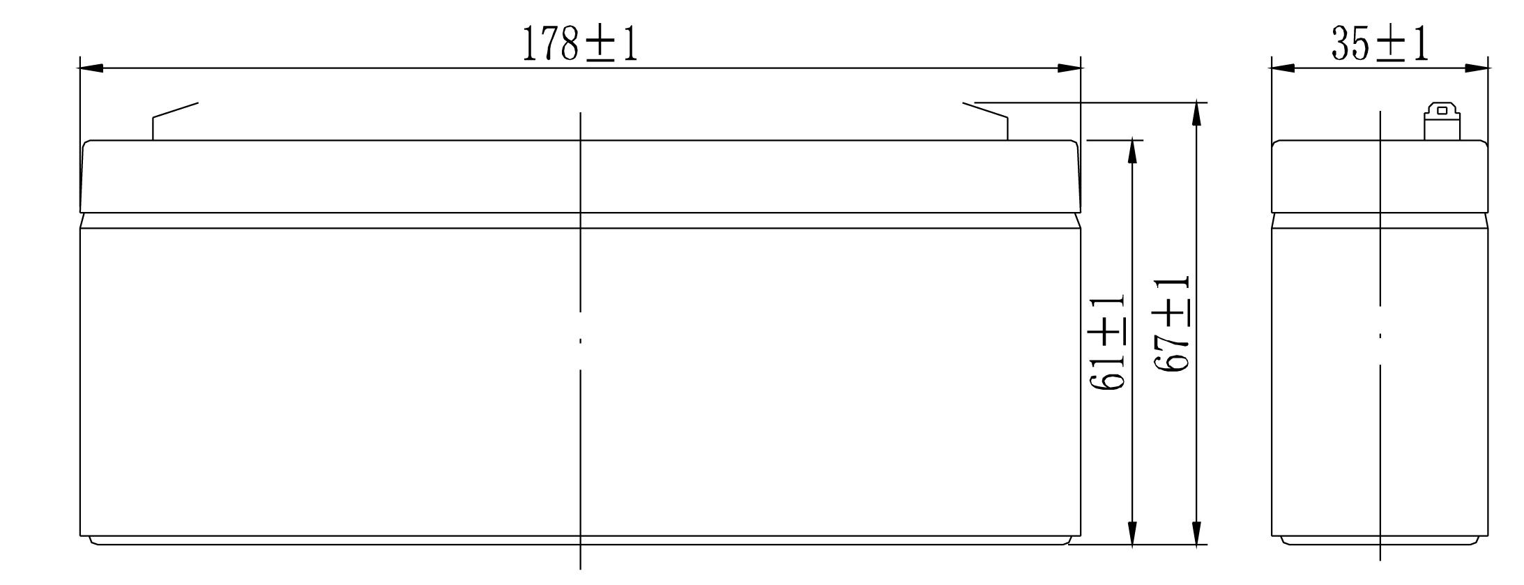 TLV1223 - 12V 2.3Ah Sealed Lead Acid Battery - Side Diagram