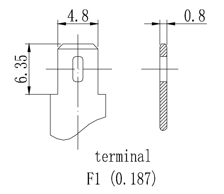 12V 2.3Ah Sealed Lead Acid Battery - F1 Terminal Diagram