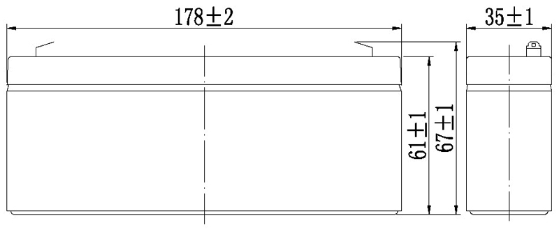 TLV1223 - 12V 2.3Ah Sealed Lead Acid Battery with F1 Terminals - Side Diagram