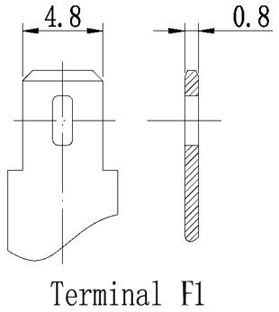 TLV1223 - 12V 2.3Ah Sealed Lead Acid Battery with F1 Terminals - Terminal Diagram