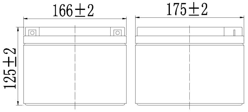 TLV12240 - 12V 24Ah Sealed Lead Acid Battery with F3 Terminals - Side Diagram