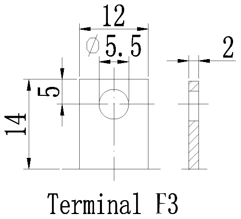 TLV12240 - 12V 24Ah Sealed Lead Acid Battery with F3 Terminals - Terminal Diagram