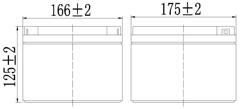 TLV12240F4 - 12V 24Ah Sealed Lead Acid Battery with F4 Terminals - Side Diagram