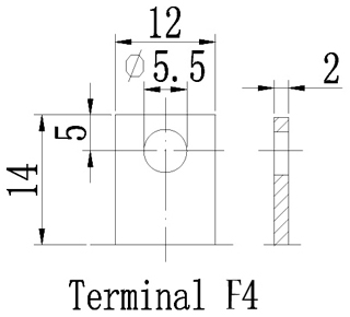 TLV12240F4 - 12V 24Ah Sealed Lead Acid Battery with F4 Terminals - Terminal Diagram