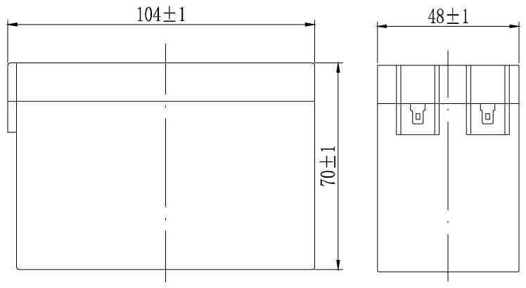 TLV1225V1 - 12V 2.5Ah Sealed Lead Acid Battery with F1 Terminals - Side Diagram