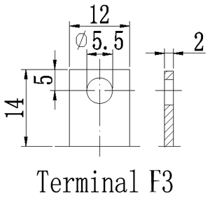 TLV12260 - 12V 26Ah Sealed Lead Acid Battery with F3 Terminals - Terminal Diagram
