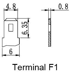 TLV1226F1S - 12V 2.6Ah Sealed Lead Acid Battery with F1 Terminals on Same Side - Terminal Diagram