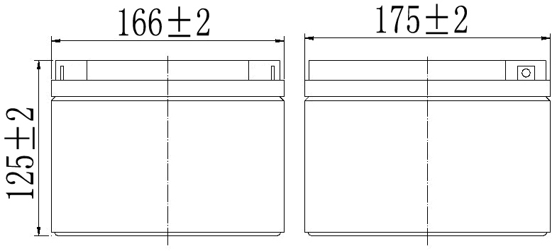 TLV12280 - 12V 28Ah Sealed Lead Acid Battery with F3 Terminals - Side Diagram