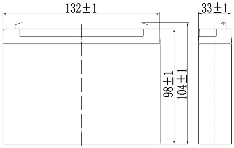 TLV1228A - 12V 2.8Ah Sealed Lead Acid Battery with F1 Terminals - Side Diagram