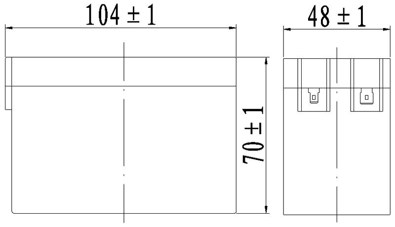 TLV1228V1 - 12V 2.8Ah Sealed Lead Acid Battery with F1 Terminals - Side Diagram