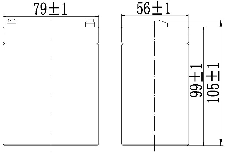 TLV1229R - 12V 2.9Ah Sealed Lead Acid Battery with F1 Terminals - Right Side Positive - Side Diagram