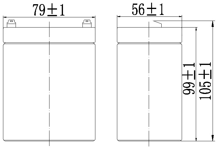 TLV1229RP - 12V 2.9Ah Sealed Lead Acid Battery with F1 Terminals - Right Side Positive - Side-Diagram