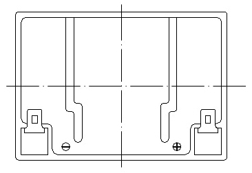 TLV1229RP - 12V 2.9Ah Sealed Lead Acid Battery with F1 Terminals - Right Side Positive - Top Diagram