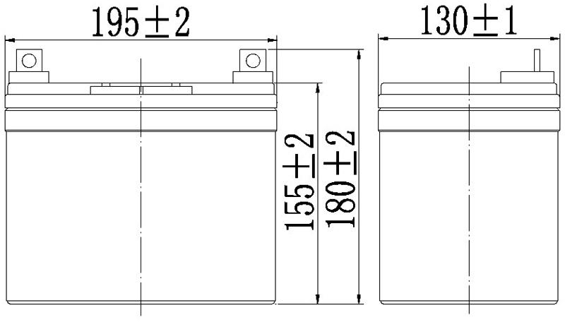TLV1233 - 12V 33Ah Sealed Lead Acid Battery with Nut & Bolt Terminals - Side Diagram