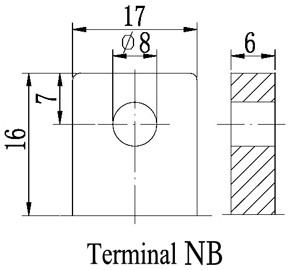 TLV12350 - 12V 35Ah Sealed Lead Acid Battery with Nut & Bolt Terminals - Terminal Diagram