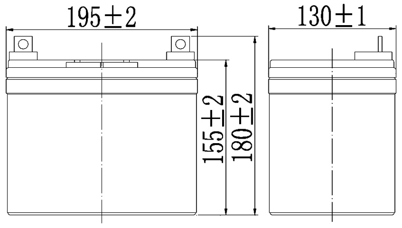 TLV1235 - 12V 35Ah Sealed Lead Acid Battery with F7 Terminals - Side Diagram