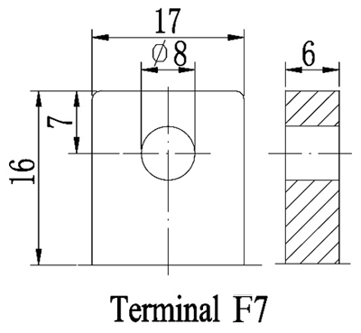 TLV1235 - 12V 35Ah Sealed Lead Acid Battery with F7 Terminals - Terminal Diagram