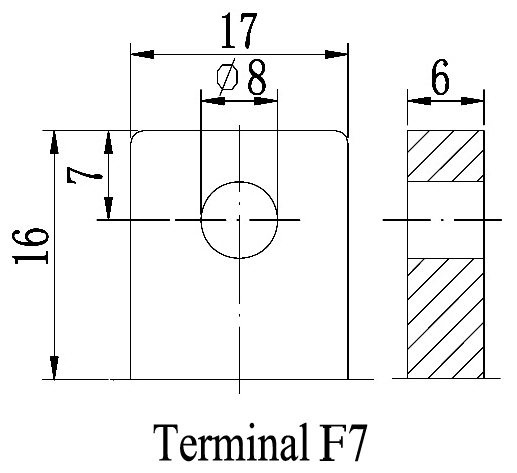 TLV1235D - 12V 35Ah Deep Cycle Battery with F7 Terminals - Terminal Diagram