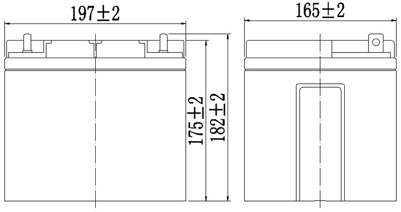 TLV12450F6 - 12V 45Ah Sealed Lead Acid Battery with F6 Terminals - Side Diagram