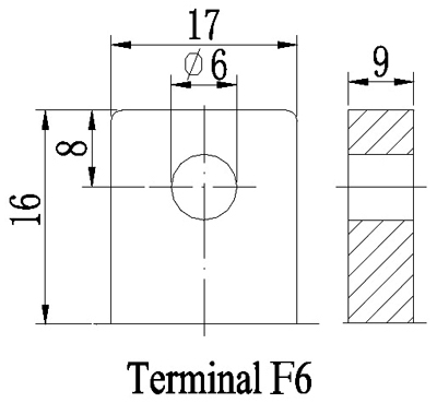 TLV12450F6 - 12V 45Ah Sealed Lead Acid Battery with F6 Terminals - Terminal Diagram