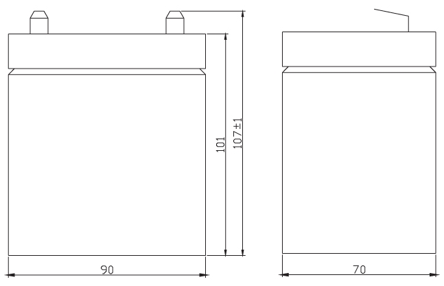 TLV1245F1 - 12V 4.5Ah Sealed Lead Acid Battery with F1 Terminals - Side Diagram
