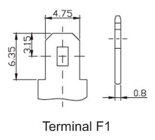 TLV1245F1 - 12V 4.5Ah Sealed Lead Acid Battery with F1 Terminals - Terminal Diagram