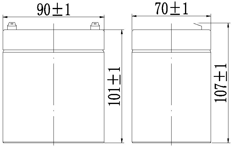 TLV1250F1 - 12V 5Ah Sealed Lead Acid Battery with F1 Terminals - Side Diagram
