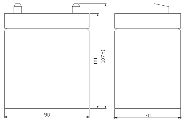 TLV1250F1A - 12V 5Ah Alarm Battery with F1 Terminals - Side Diagram