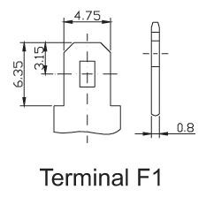TLV1250F1A - 12V 5Ah Alarm Battery with F1 Terminals - Terminal Diagram
