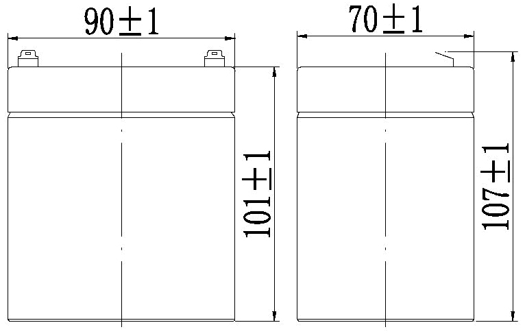TLV1250F2 - 12V 5Ah Sealed Lead Acid Battery with F2 Terminals - Side Diagram