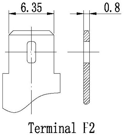 TLV1250F2 - 12V 5Ah Sealed Lead Acid Battery with F2 Terminals - Terminal Diagram