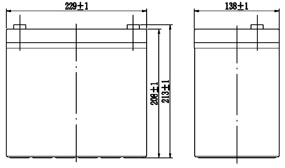 TLV12550 - 12V 55Ah Sealed Lead Acid Battery with F11 Terminals - Side Diagram