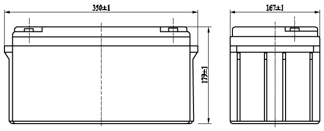 TLV12650F-X - 12V 65Ah Sealed Lead Acid Battery with M6 Terminals - Side Diagram