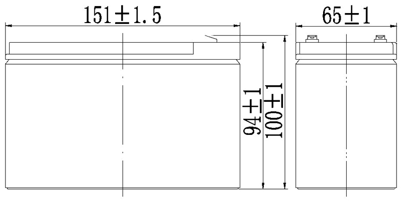 TLV1270F1 - 12V 7Ah Sealed Lead Acid Battery with F1 Terminals - Side Diagram