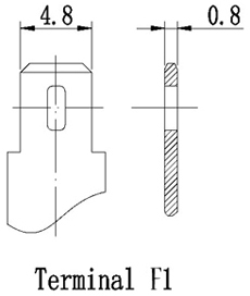TLV1270F1 - 12V 7Ah Sealed Lead Acid Battery with F1 Terminals - Terminal Diagram