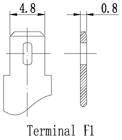 TLV1272F1 - 12V 7.2Ah Sealed Lead Acid Battery with F1 Terminals - Terminal Diagram